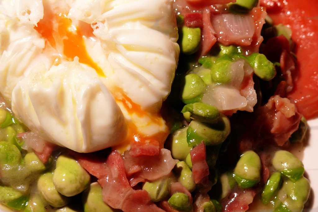 Habas con jamon y huevo poch receta - Habas tiernas con jamon ...
